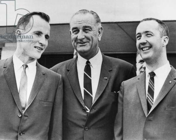 LYNDON BAINES JOHNSON (1908-1973). 36th President of the United States. Johnson meets with astronauts Ed White (left) and James McDivitt (right), at the Manned Spacecraft Center in Houston, Texas. Johnson promoted them from major to lieutenant colonel in recognition of their feat of spending four days in space, 11 June 1965.