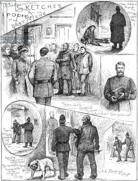 WHITECHAPEL MURDERS, 1888 Police investigate and apprehend suspects during the notorious Jack the Ripper murders in Whitechapel, London, 1888: contemporary wood engraving from an English newspaper.