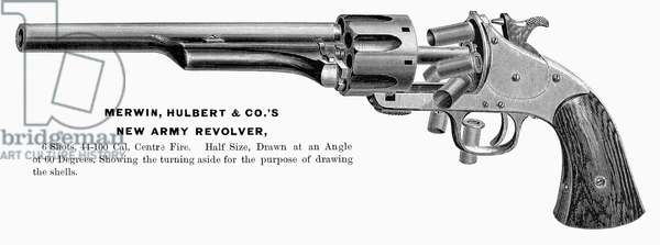REVOLVER, 19th CENTURY The New Army Revolver manufactured by Merwin, Hulbert and Company. Line engraving, American, 1870s or 1880s.