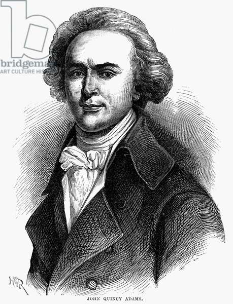 JOHN QUINCY ADAMS (1767-1848). Sixth President of the United States. Engraving, 19th century.