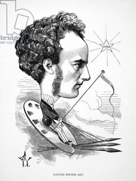 SIR JOHN EVERETT MILLAIS (1829-1896). English painter. Caricature, 1872, by Frederick Waddy.