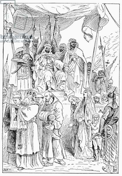 SALADIN (1138-1193) Sultan of Egypt and Syria. Saladin showing mercy towards the Christians of Jerusalem after his conquest of the city in 1187. Line engraving, late 19th century.
