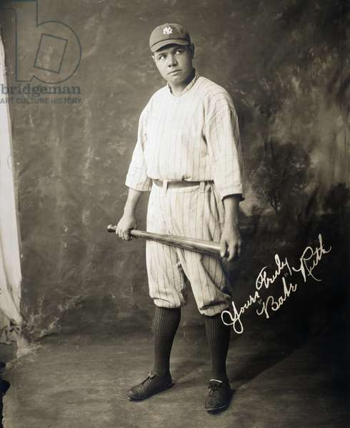GEORGE H. RUTH (1895-1948) Babe Ruth in a publicity photograph, 1920.