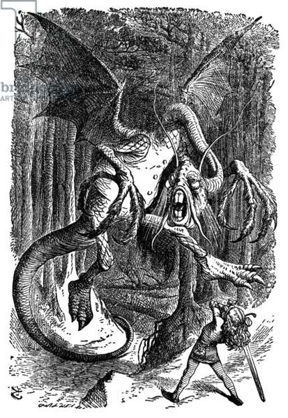 CARROLL: LOOKING GLASS 1872. By Lewis Carroll. The Jabberwock. Illustration by John Tenniel from the first edition of 1872.