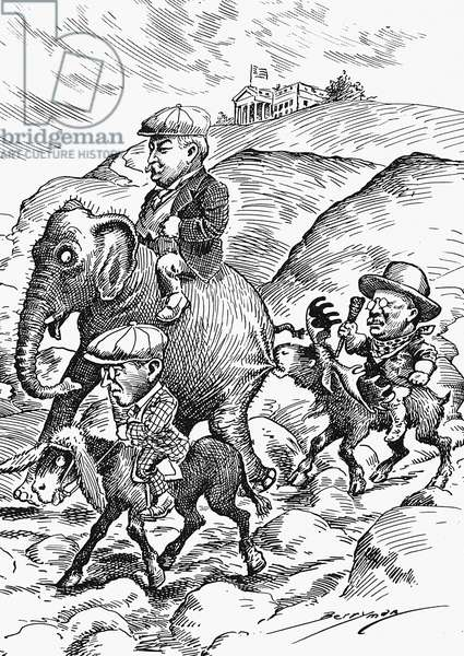 PRESIDENTIAL CAMPAIGN, 1912 Republican candidate William Howard Taft, on elephant, Democrat Woodrow Wilson, on a donkey, and Progressive of Bull-Moose candidate Theodore Roosevelt, on a moose, start off on the rough road in the three-way race to the White House. Cartoon by Clifford Berryman, 1912.