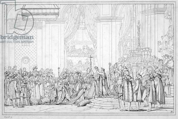 NAPOLEON I (1769-1821) Emperor of the French. The coronation of Napoleon as emperor at Paris, France, 2 December 1804: etching after Jacques Louis David.