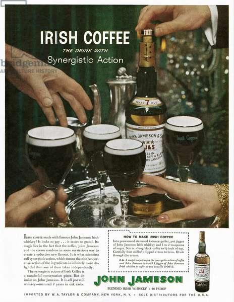 AD: JOHN JAMESON, 1961 American advertisement for John Jameson Irish Whiskey, 1961.