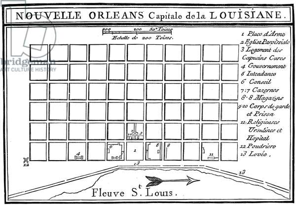 PLAN OF NEW ORLEANS, 1758 Line engraving, French, 1758.