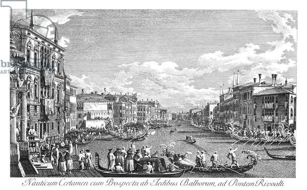 VENICE: GRAND CANAL, 1735 A regatta on the Grand Canal in Venice, Italy. Engraving, 1735, by Antonio Visentini after Canaletto.