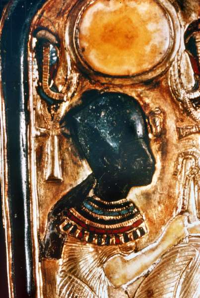 EGYPT: TUTANKHAMEN Detail of gold double unguent case from Tomb of Tutankhamen.
