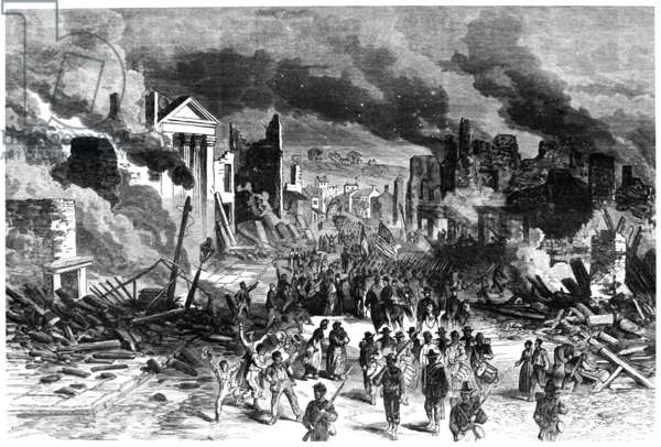 CIVIL WAR: RICHMOND, 1865 African American troops entering Richmond, Virginia after the fall in 1865. Engraving, c.1865.
