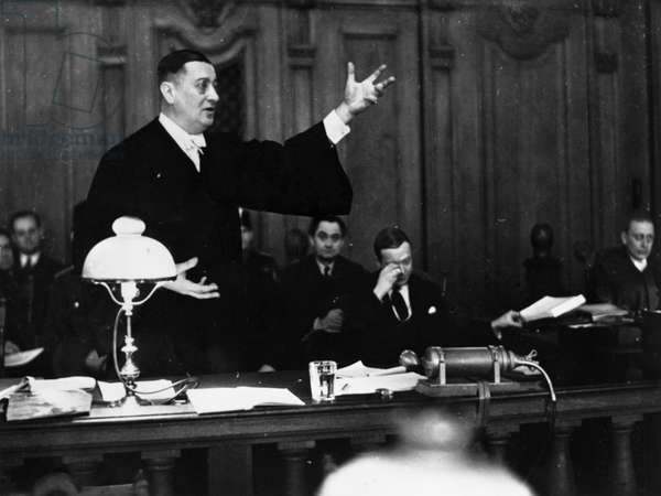 REICHSTAG FIRE TRIAL, 1933 Alfons Sack, counsel of the defendent Ernst Torgler, during the Reichstag fire trial in Leipzig, Germany. Photograph, 1933.