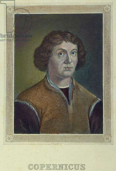 NICOLAUS COPERNICUS (1473-1543). Polish astronomer: coloured  German engraving.
