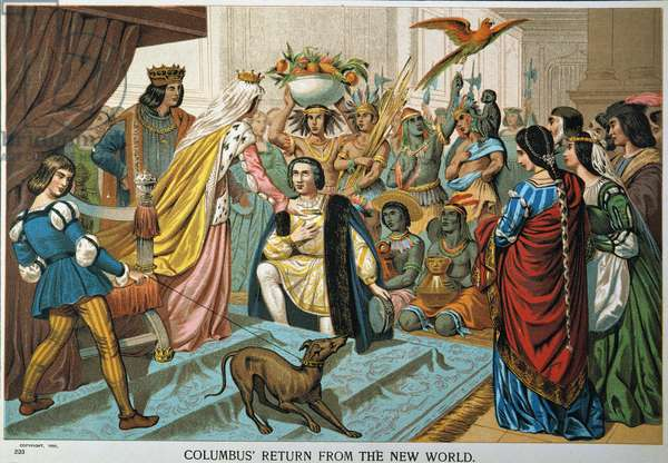 CHRISTOPHER COLUMBUS Columbus returns from the New World. American lithograph, 1892.