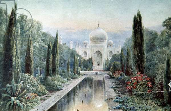 INDIA: TAJ MAHAL Color engraving of the neglected gardens of the Taj Mahal in Agra, India, during the 19th century.