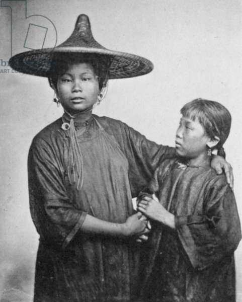 CHINA: BOAT GIRLS, 1870s Two daughters of a Chinese boating family, 1870s.