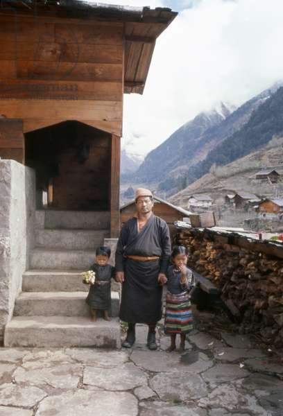 INDIA: FAMILY, 1971 The Jorbu family outside of their home in Lachung, Sikkim, India. Photograph by Alice S. Kandell, 1971.