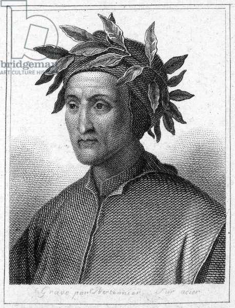 DANTE ALIGHIERI (1265-1321) Italian poet. Steel engraving, French, 19th century.
