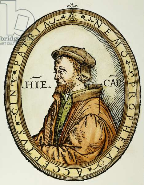 GERONIMO CARDANO (1501-1576). Italian mathematician, physician, and astrologer. Woodcut from the cover of his 'Practica arithmetice,' 1539.