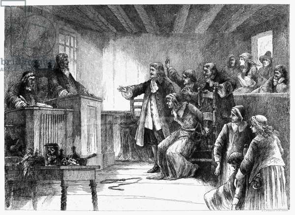 SALEM WITCH TRIALS, 1692 The trial of a witch at the First Church of Salem, Massachusetts, in 1692. Etching, American, late 19th century.