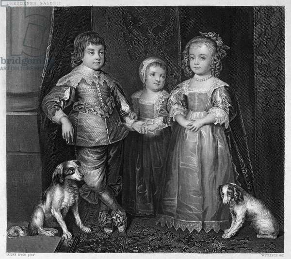 CHILDREN OF CHARLES I The children of King Charles I of England, including the future King Charles II (1630-1685), left. Steel engraving, English, 19th century, after a painting, 1635, by Anthony Van Dyck.