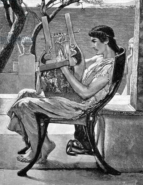 ALCAEUS (c620-c580 B.C.) Greek lyric poet. Wood engraving after a painting by Alma-Tadema.