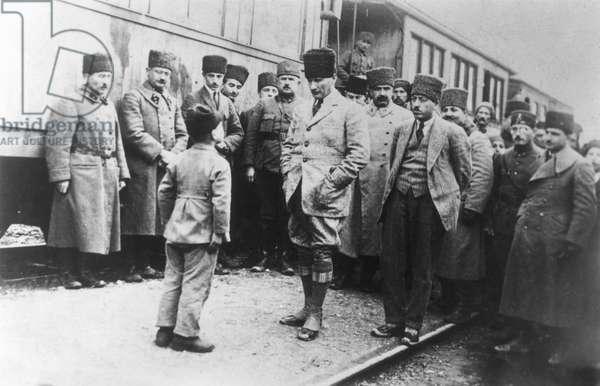 MUSTAFA KEMAL ATATURK (1881-1938). Turkish soldier and statesman. Ataturk and his entourage travelling through Anatolia.