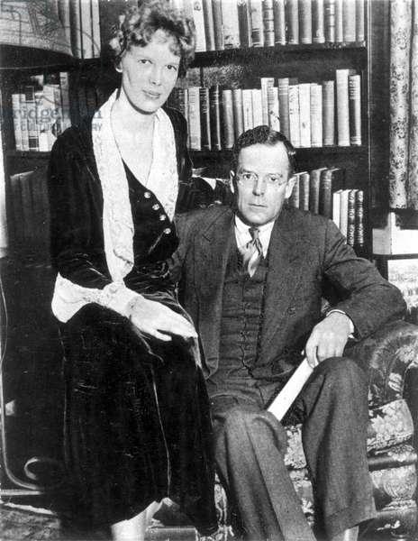 AMELIA EARHART (1897-1937) American aviator. With her husband, George Palmer Putnam, c.1932.