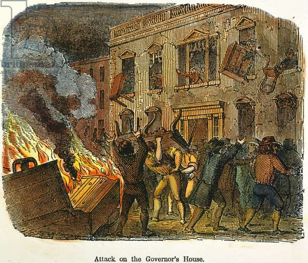 BOSTON: STAMP ACT RIOT, 1765 Sons of Liberty protesting the Stamp Act by attacking the house of Lieutenant Governor Thomas Hutchinson at Boston on 26 August 1765. Color engraving, 19th century.