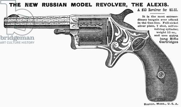 REVOLVER AD, 1878 American advertisement for a revolver, 1878.