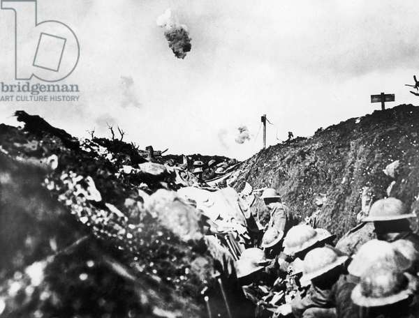 WORLD WAR I: SOMME, 1916 Canadian troops in a trench during the Battle of the Somme, 1916.
