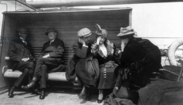 TITANIC: SURVIVORS, 1912 Groups of 'Titanic' survivors aboard the rescue ship, RMS 'Carpathia.' Photographed 27 May 1912.