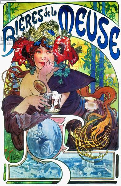 BEER AD BY MUCHA, c.1897 French lithograph advertising poster, c.1897, by Alphonse Mucha for Bieres de la Meuse.