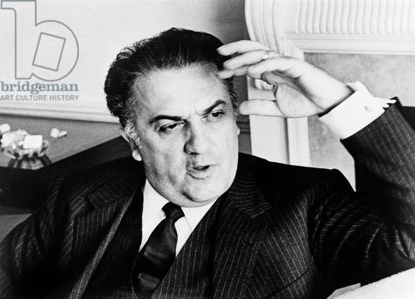 FEDERICO FELLINI (1920-1993) Italian film director. Photograph by Walter Albertin, 1965.