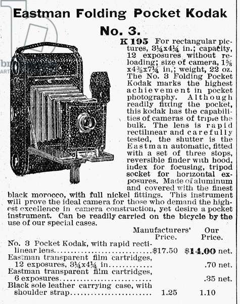 CAMERA ADVERTISEMENT, 1900 Eastman Folding Pocket Kodak. Catalogue advertisement, 1900.