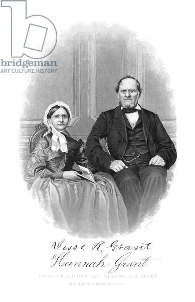 ULYSSES S. GRANT: PARENTS Hannah Simpson Grant (1798-1883) and Jesse Root Grant (1794-1873), parents of Ulysses S. Grant, 18th President of the United States: steel engraving, c.1865.