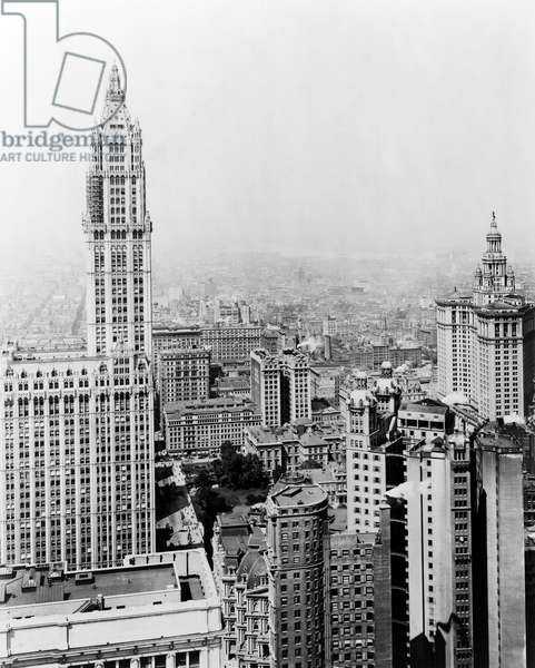 WOOLWORTH BUILDING, 1913 The Woolworth Building, New York City, the world's tallest building at the time of its completion in 1913 until 1930. Photograph, 1916.