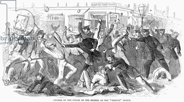 NEW YORK: DRAFT RIOTS Charge of the police on the rioters at the Tribune office during the New York City Draft Riots of 13-16 July 1863. Contemporary American engraving.