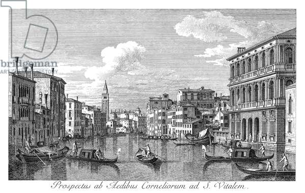 VENICE: GRAND CANAL, 1735 The Grand Canal in Venice, Italy, looking northwest from the Palazzo Corner to the Palazzo Contarini dagli Scrigni. Engraving, 1735, by Antonio Visentini after Canaletto.