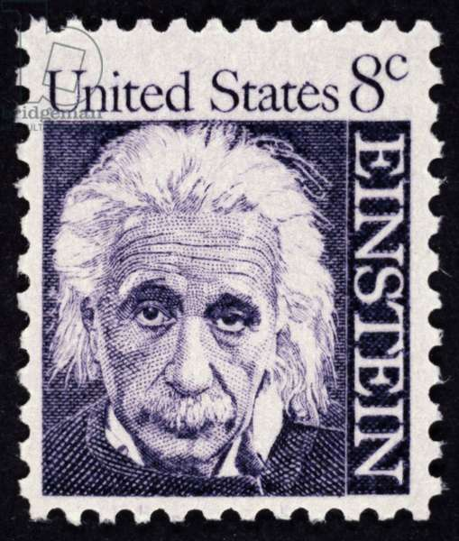 ALBERT EINSTEIN (1879-1955) American (German-born) theoretical physicist. On a United States postage stamp, 1966.