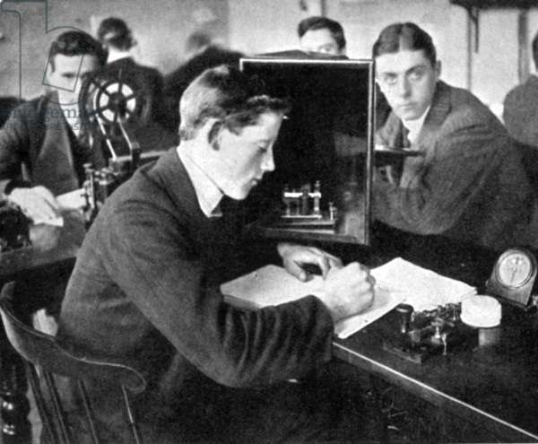 TITANIC: HAROLD COTTAM The wireless operator of the 'Carpathia' who heard the distress call sent by the 'Titanic,' 1912. Shown here as a student at the British School of Telegraphy.