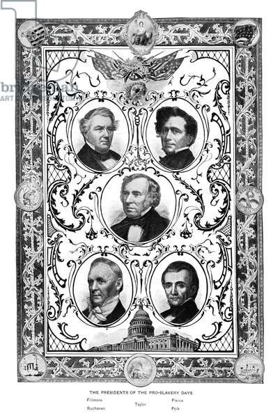 PRESIDENTS Portraits of the five U.S. presidents to serve immediately preceeding the American Civil War, including Millard Fillmore, James Buchanan, Zachary Taylor, Franklin Pierce, and James K. Polk. Engraving, c.1890.