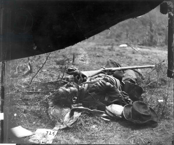 DEAD CONFEDERATE SOLDIER The body of a Confederate soldier near Spotsylvania Court House, Virginia, photographed, May 1864, by Timothy O'Sullivan.