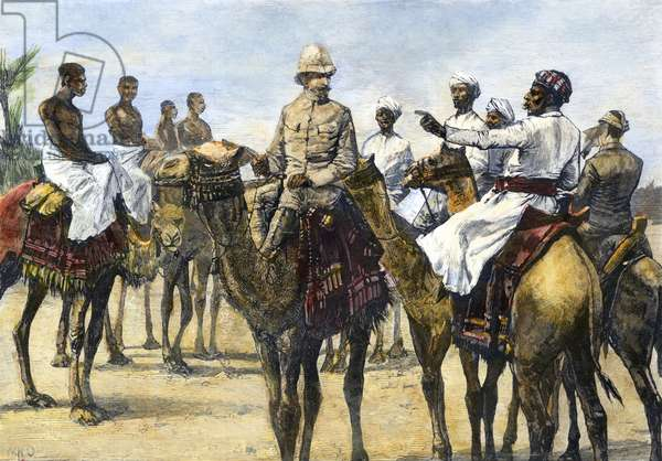 HORATIO HERBERT KITCHENER (1850-1916). 1st Earl Kitchener of Khartoum and of Broome. British soldier. Major Kitchener with his guides at Korti, Sudan, just before starting across the desert during the unsuccessful British expedition to relieve Khartoum, January 1885. Contemporary English wood engraving.