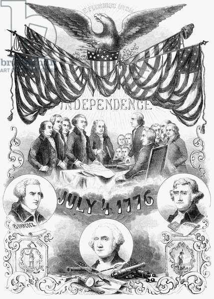INDEPENDENCE DAY Commemorative illustration of the 4th of July. Engraving, 1853.