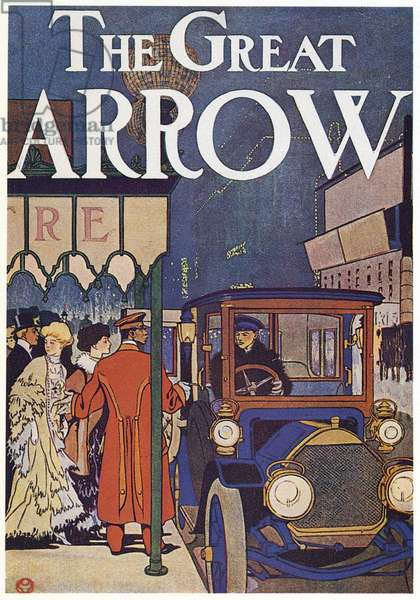 AD: PIERCE-ARROW, 1907 American advertisement for Pierce-Arrow automobiles. Illustration by Edward Penfield, 1907.