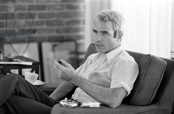 JOHN McCAIN (1936- ) American politician. Being interviewed shortly after his release from captivity in North Vietnam. Photograph by Thomas J. O'Halloran, 24 April 1973.