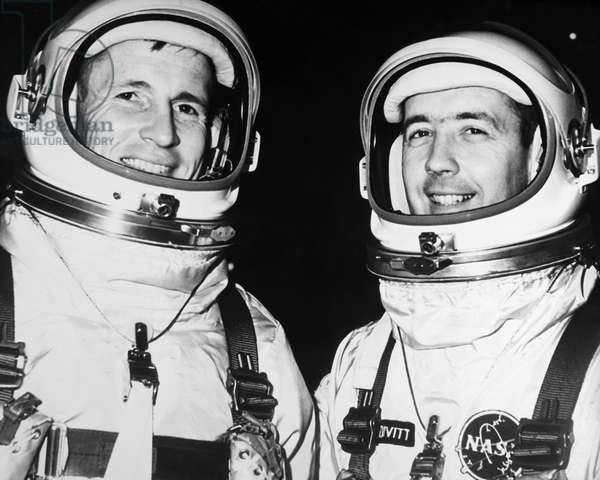 GEMINI IV ASTRONAUTS, 1965 Gemini IV astronauts, Edward White (left) and James McDivitt, photographed at Cape Kennedy, Florida, after completing flight simulations for their upcoming mission, 31 May 1965.