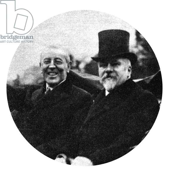 WORLD WAR I: PRESIDENTS President Wilson rides in a carriage with French President Poincare after his arrival in Paris, France. Photograph, c.1919.
