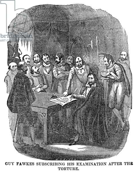 GUY FAWKES (1570-1606) English conspirator. Guy Fawkes signing his confession to his part in the Gunpowder Plot after torture. Wood engraving, 19th century.